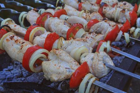 meat skewers: Meat skewers on the barbecue coals. Food