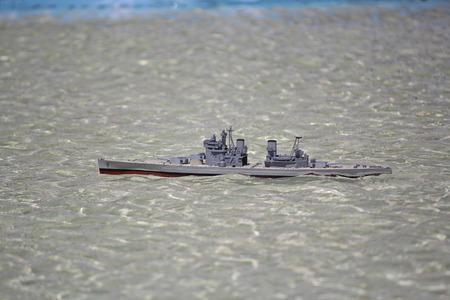 warship: Model warship in the pool. Ship modeling
