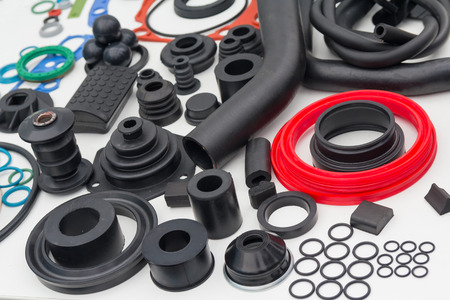 Various rubber products and sealing products at the exhibition stand. Industry Stok Fotoğraf - 61844110