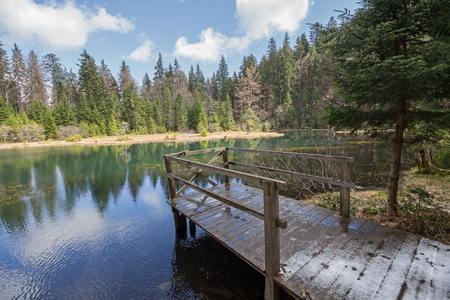 bridge nature: View of the clear mountain lakes and a wooden bridge. Nature