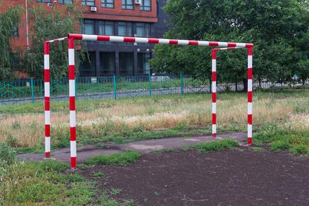 school playground: Football goal in the school playground. Sport