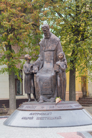 Ivano-Frankivsk, Ukraine - October 17, 2016: Monument to metropolitan Andrey Sheptytsky Editorial