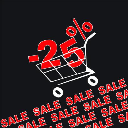Big sale, 25 percentage discount . Vector illustration