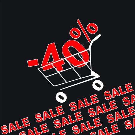 Big sale, 40 percentage discount . Vector illustration
