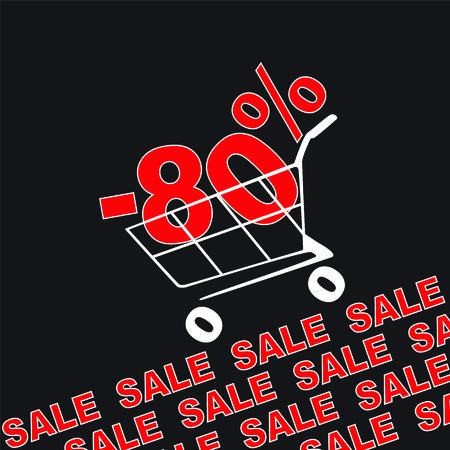 the percentage: Big sale, 80 percentage discount . Vector illustration