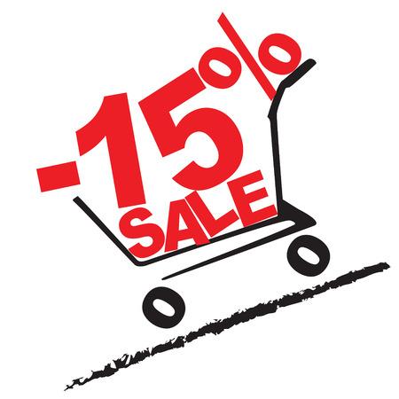 the percentage: Big sale, 15 percentage discount . Vector illustration