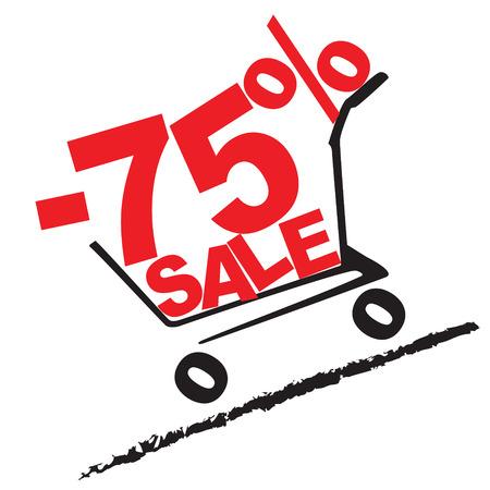 slope: Big sale, 75 percentage discount . Vector illustration