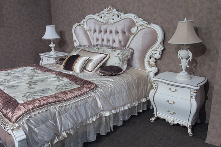luxurious: Luxurious bedroom furniture in a classic style. Interior