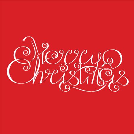 calligraphic design: Merry Christmas calligraphic Lettering design card. Vector Illustration