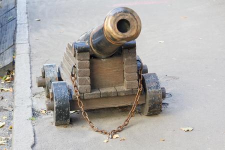 Ancient cannon riveted to the pavement. Kiev, Ukraine