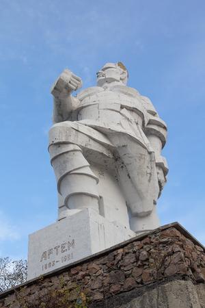 Monument revolutionary Fyodor Sergeyev (Artem) designed in the style of Cubism. Svyatogorsk, Ukraine