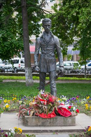 Uzhhorod, Ukraine - April 27, 2016: Monument of Sandor Petofi, a Hungarys national poet and the key figures of the Hungarian Revolution of 1848