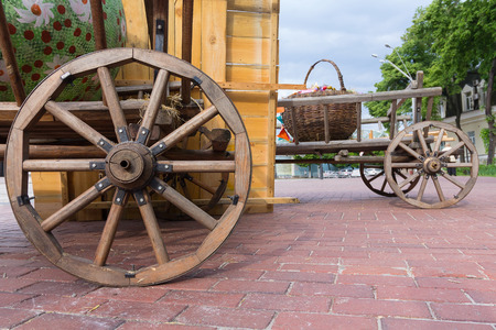 Ancient carts on the town square during the city fair. Kiev, Ukraine Stock Photo