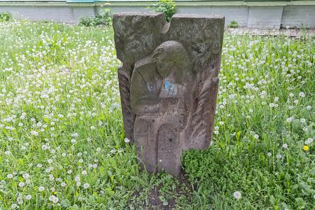 Sculpture stylized ancient idols at Vladimirs Hill. Kiev, Ukraine Stok Fotoğraf