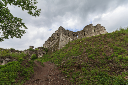 bulwark: Ruins of the old medieval castle. Hust, Ukraine