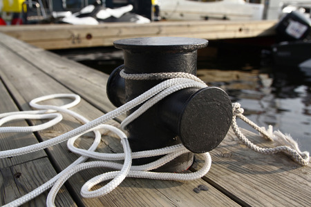 Mooring rope on the pier. Life style Stock Photo