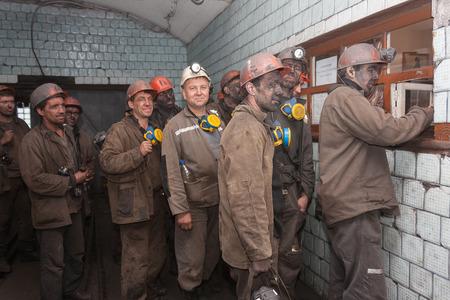 Makeevka, Ukraine - June 11, 2013: Miners of the mine CKholodnaya Balka after the working shift