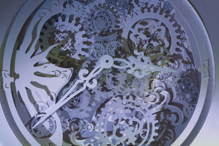 Stylized decoration in the form of clock parts