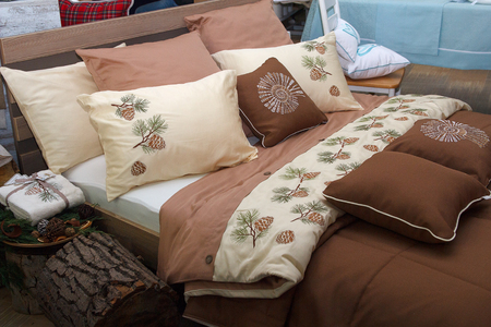 furniture store: New design cushions for the bedroom. Sale Stock Photo