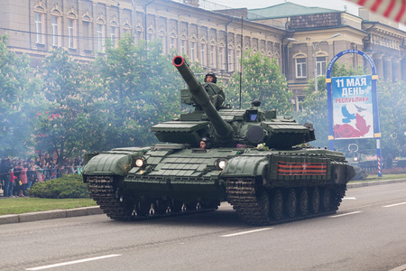 Donetsk, Ukraine - May 9, 2017: Tank of the army of the Donetsk Peoples Republic at the military parade in honor of the anniversary of victory in World War II