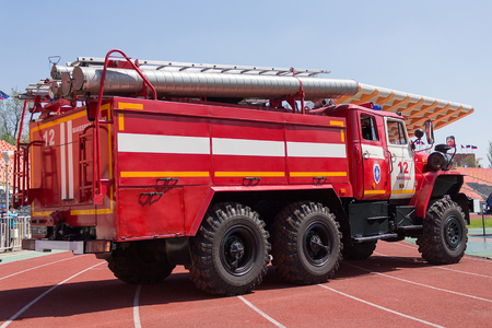 Donetsk, Ukraine - April 29, 2017: Fire truck at the stadium during a fire crossfit Editorial