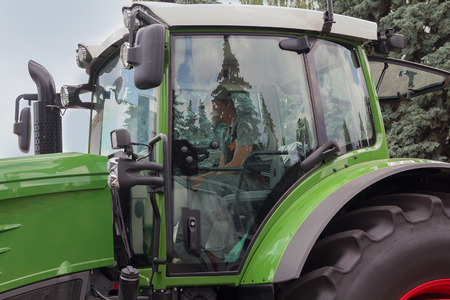 Cabine of a modern tractor close up. Agriculture Stockfoto