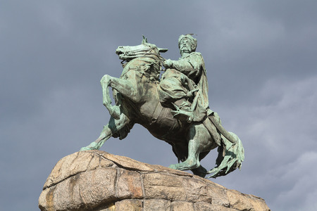 Monument to Bogdan Khmelnitsky on horseback. Kiev, Ukraine Stock Photo