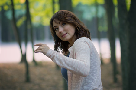 Beautiful woman in a mystical forest. People Stock Photo