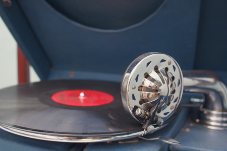 soundtrack: Detail old gramophone player close up. Music Stock Photo