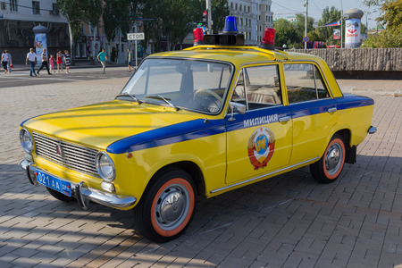 Donetsk, Ukraine - August 27, 2017: Soviet police car during an exhibition in the central square of the city at the celebration of the citys day