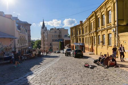 Kiev, Ukraine - June 10, 2017: Evening in the street Andreevsky Descent - the historical center of Kiev