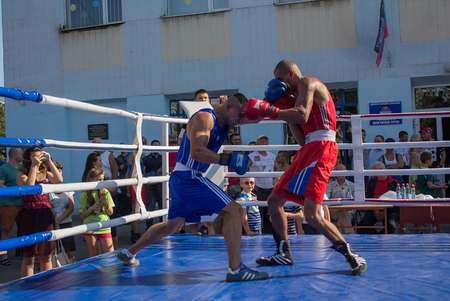 Makeevka, Ukraine - August 26, 2017: Amateur boxing competitions at the celebration of the citys day Editorial
