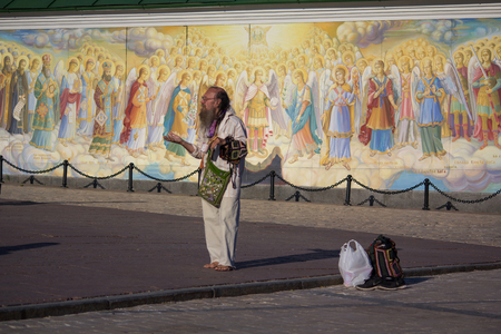 Kiev, Ukraine - June 10, 2017: Beggar the frescoes of St. Michaels Cathedral Editorial