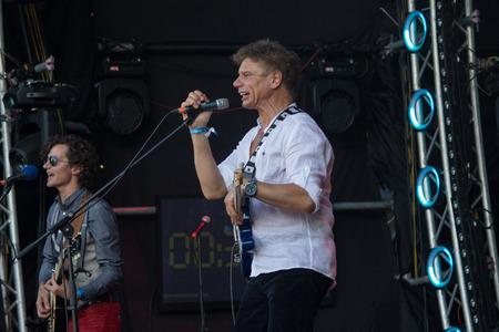Kiev, Ukraine - June 28, 2017: Popular Ukrainian rock band Tabula Rasa and her frontman and vocalist Oleg Laponogov perform at the Atlas festival at the National Expocenter.