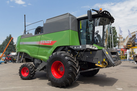 Ukraine, Kiev - June 11, 2017: Agricultural combine at the exhibition International agro-industrial exhibition AGRO 2017