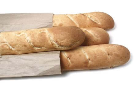 Baguette group is isolated on a white background. Food