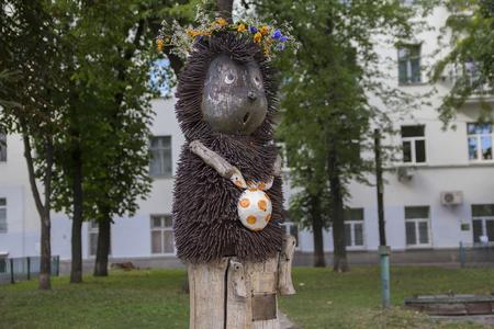 Kiev, Ukraine - July 07, 2017: The monument to the Hedgehog in the fog - after the famous Soviet cartoon, by sculptor Konstantin Skretutskiy Editorial