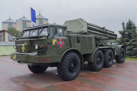 Kiev, Ukraine - October 11, 2017:  Missile system with the symbols of the armed forces of Ukraine at the exhibition Arms and security 2017