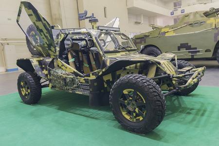 batallón: Kiev, Ukraine - October 11, 2017: Military car-buggy at the exhibition Arms and security - 2017