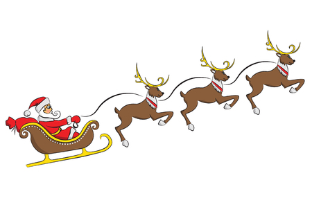 Santa Claus on a sleigh with a deer isolated on white background. Vector