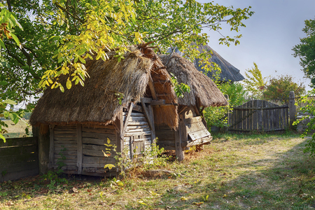 Barn in the courtyard of a Ukrainian peasant Stock Photo