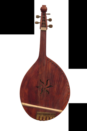Ukrainian peoples instrument bandura isolated on a white background