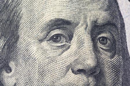 Fenjamin Franklin on a dollar bill close-up. Business & Finance