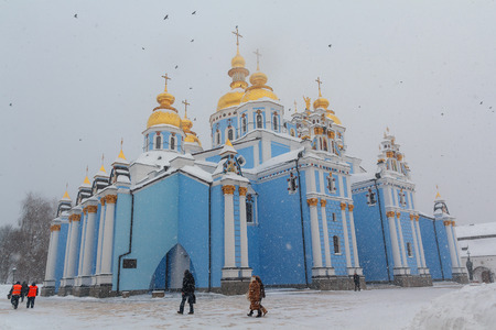 Kiev, Ukraine - March 4, 2018: St. Michaels Golden-Domed Monastery in a snow storm