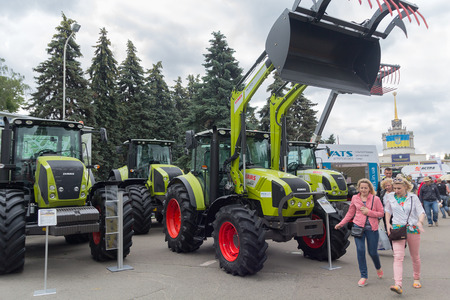 Ukraine, Kiev - June 10, 2016: Visitors near the exhibits International agro-industrial exhibition