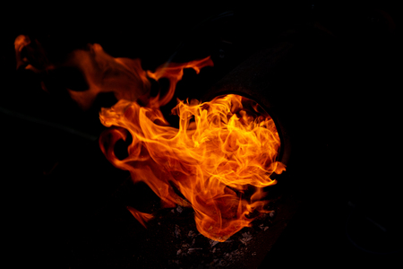 Burning flame or fire isolated on black background 版權商用圖片