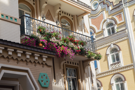 Flowers on the balcony of a luxury house in a classic style.