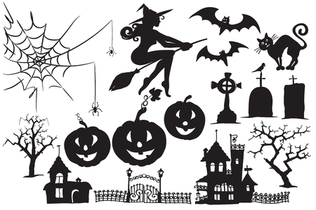 Vector collection of Halloween symbols and characters