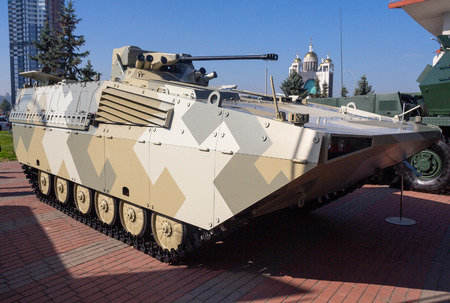 Kiev, Ukraine - October 10, 2018: Upgraded infantry fighting vehicle of Czech and Slovak production BMP Jackal at the exhibition Arms and Security