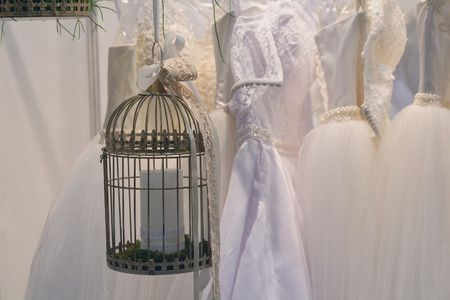 Wedding decorations and wedding dresses in store Stok Fotoğraf